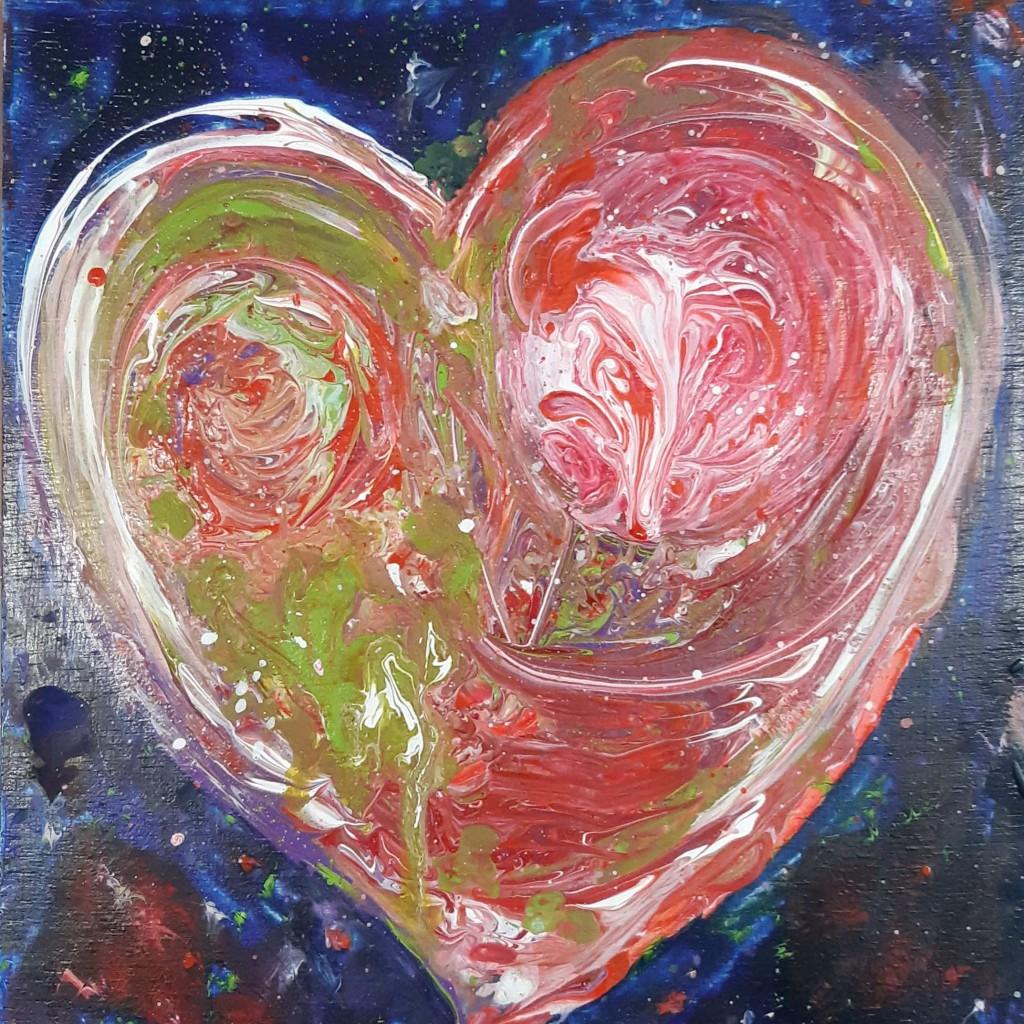 Hart rood en groen  - 19 x 20 cm   - van € 55 voor € 45
