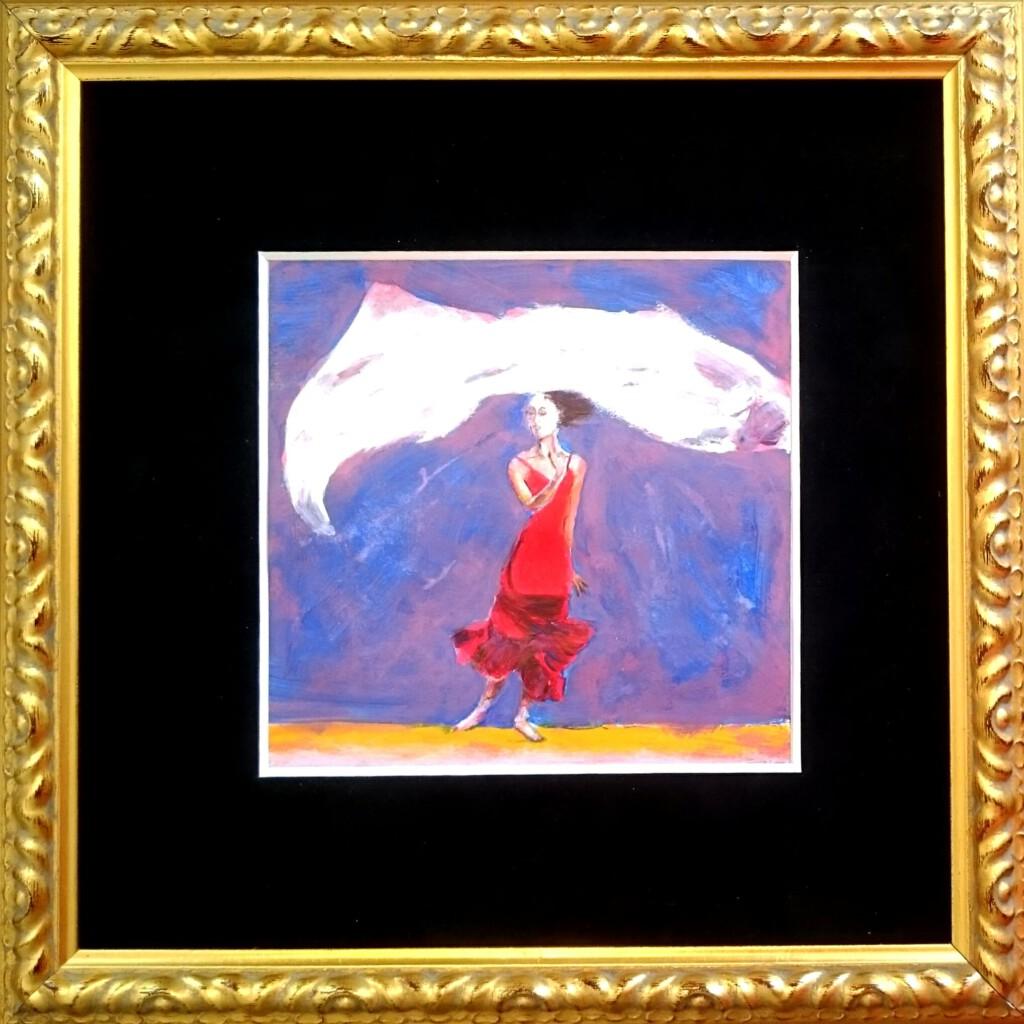 Lady in red  - 15 x 15 -  mooi ingelijst 29 x 29 cm  -  € 225