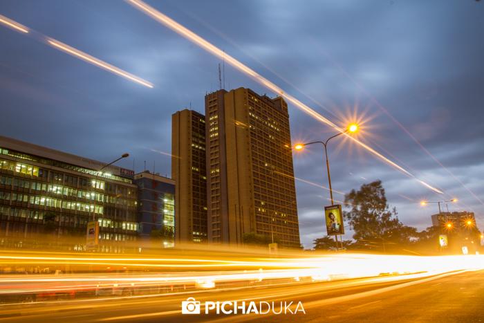 Evening traffic leaves streaks of light along Nairobi's Kenyatta Avenue on 14th May 2013.