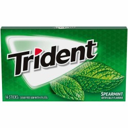 TRIDENT SUGAR FREE SPEARMINT GUM 14 PC