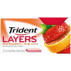 TRIDENT LAYERS SF WILD STRAWBERRY TANGY CITRUS GUM 14 PC
