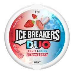 ICE BREAKERS DUO MINTS STRAWBERRY 1.3 OZ TIN