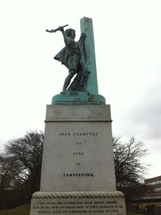 Jack Crawford served on HMS Venerable during the Battle of Camperdown. He was honoured for his bravery when he climbed the mast to nail the British flag back on while under heavy fire. His actions were said to have raised the morale of the men and spurred them on to victory. He died in 1831 and his statue was unveiled in 1890 by the Earl of Camperdown.