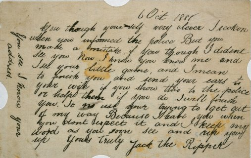 """Jack the Ripper: letter allegedly sent by Jack the Ripper"". {via}"