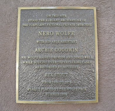 Plaque at the address of Nero Wolfe and Archie Goodwin