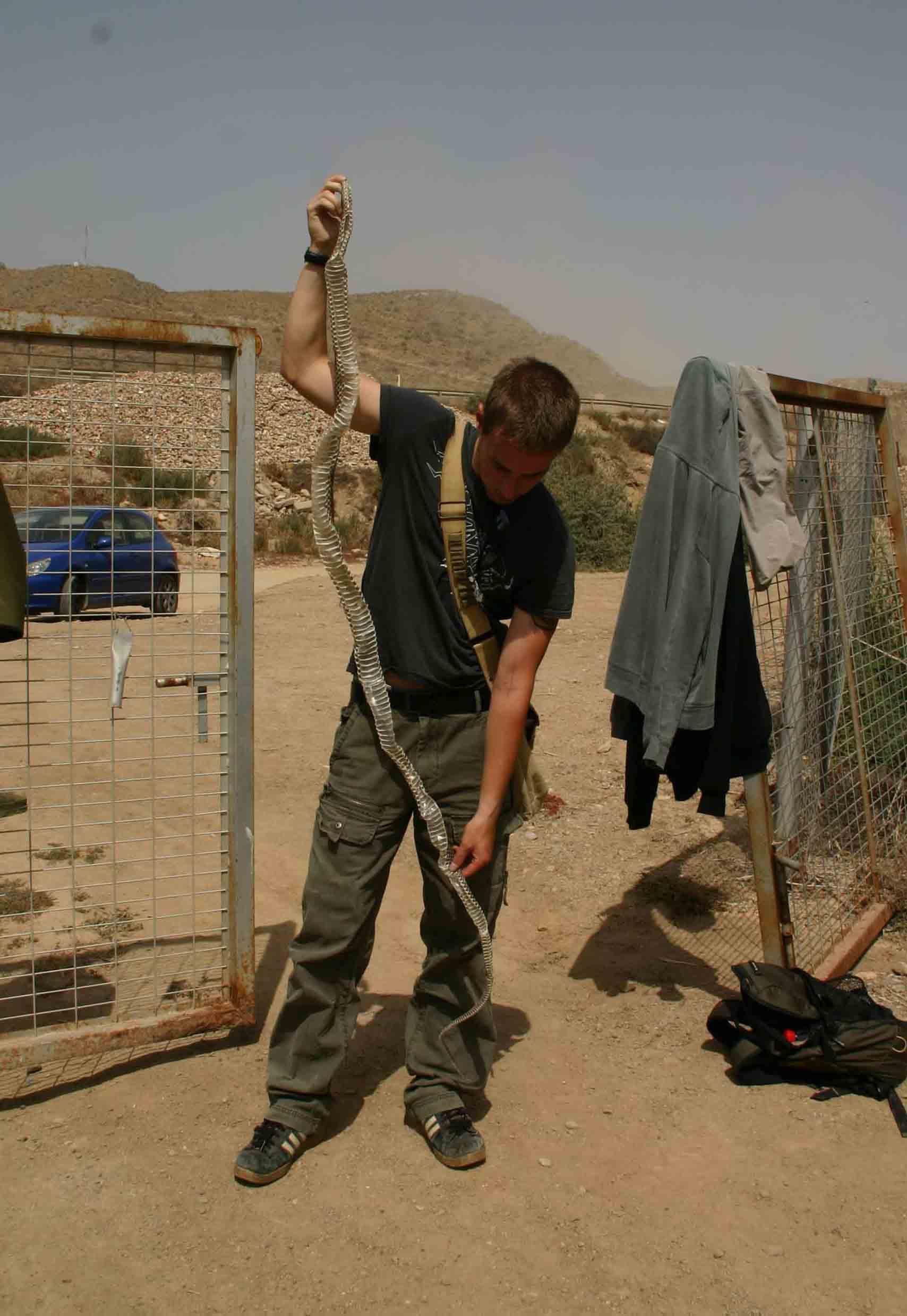 Me holding the skin of a giant Montpellier snake (Malpolon monspessulanus), the skin measured 240cm!