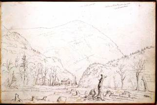 Thomas Cole, American, Cole sketch; Willey House,White Mountain Notch x1940-78-4. Source: Princeton Art Gallery Website
