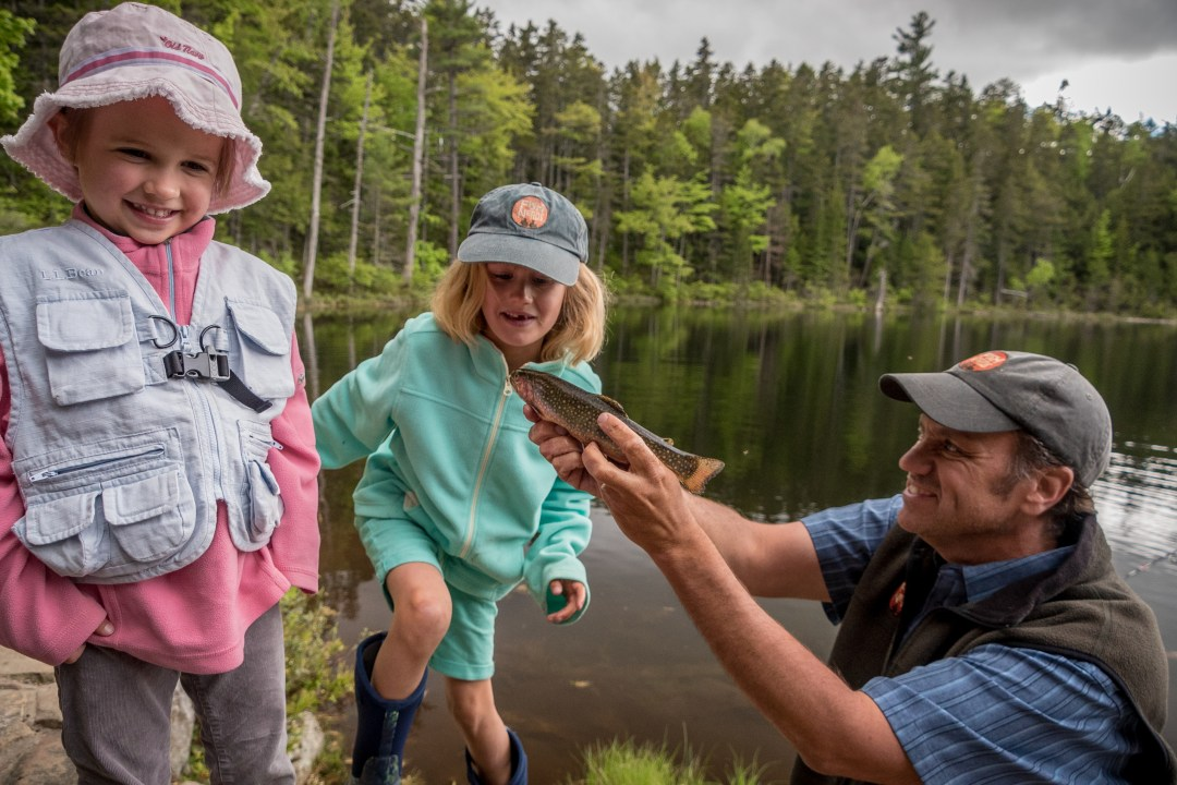 fishing with kids on the Kancamagus Highway