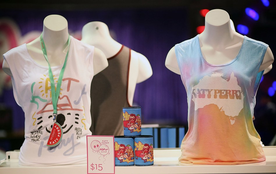Katy Perry teeshirts in popup shop