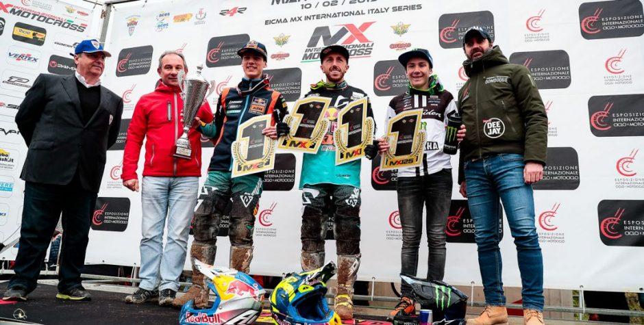 I campioni 2019 sono Cairoli in MX1 e nella Supercampione, Prado in MX2 e Miot nella 125
