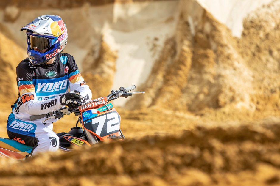 Liam Everts pauses during training in Gistoux, Belgium on March 20, 2021.