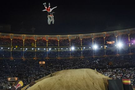Josh Sheehan of Australia performs during the finals of the third stage of the Red Bull X-Fighters World Tour in Madrid, Spain on June 27, 2014.