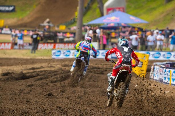 Roczen (near) and Barcia (far) battled for second in the championship all the way to the checkered flag.Photo: Simon Cudby