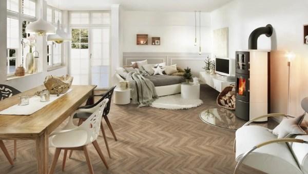 Wohnzimmer mit Project Floors_Chevron_PW 3220FP