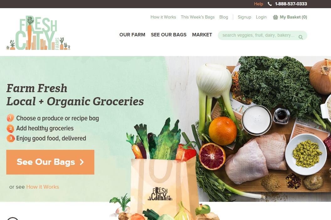 Fresh City Farms Abo-Commerce mit Obst und Gemüse