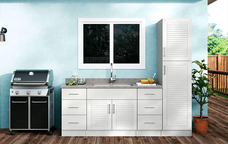 Key West In Radiant White · Weatherstrong Premium Outdoor Cabinetry