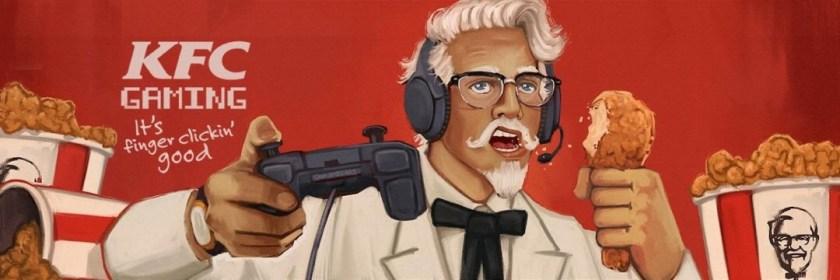 Bannière où l'on voit le Colonel SANDER jouer avec une manette et manger un poulet