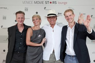 VENICE, ITALY - SEPTEMBER 08: Jakob Diehl, Christian Clauss, Andrej Koncalovskij, Julia Vysotskaya attend the 'Paradise' press activities during the 73rd Venice Film Festival at on September 8, 2016 in Venice, Italy. (Photo by Annalisa Flori/Getty Images) *** Local Caption *** Jakob Diehl; Julia Vysotskaya; Andrej Koncalovskij; Christian Clauss