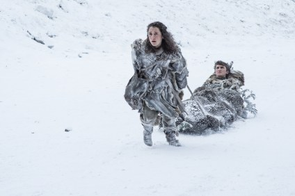 Ellie Kendrick as Meera Reed and Isaac Hempstead Wright as Bran Stark. Credit - Helen Sloan_HBO