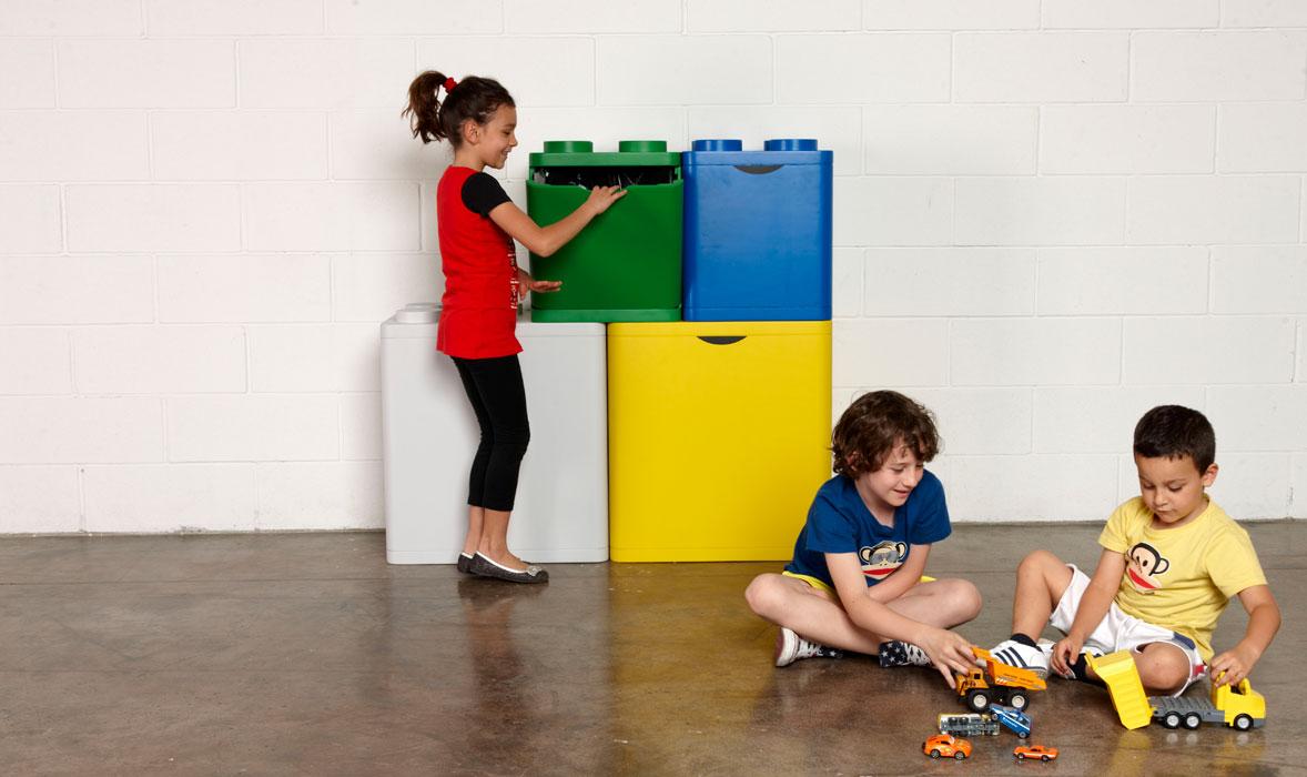 Leco, un système de tri des déchets ludique et design en forme de Lego