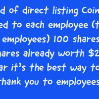 Coinbase gifted 100 shares to each employee