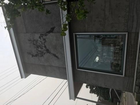 Concrete art in walls of artist