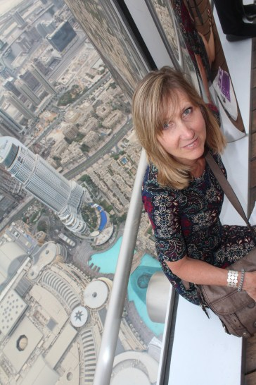 1,800 ft above Dubai Mall and fountains . Still 1,000 ft to get to the very top.