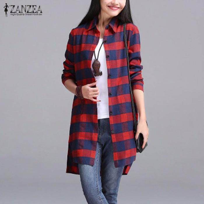 ZANZEA Women Autumn Plaid Shirts Lapel Long Sleeve