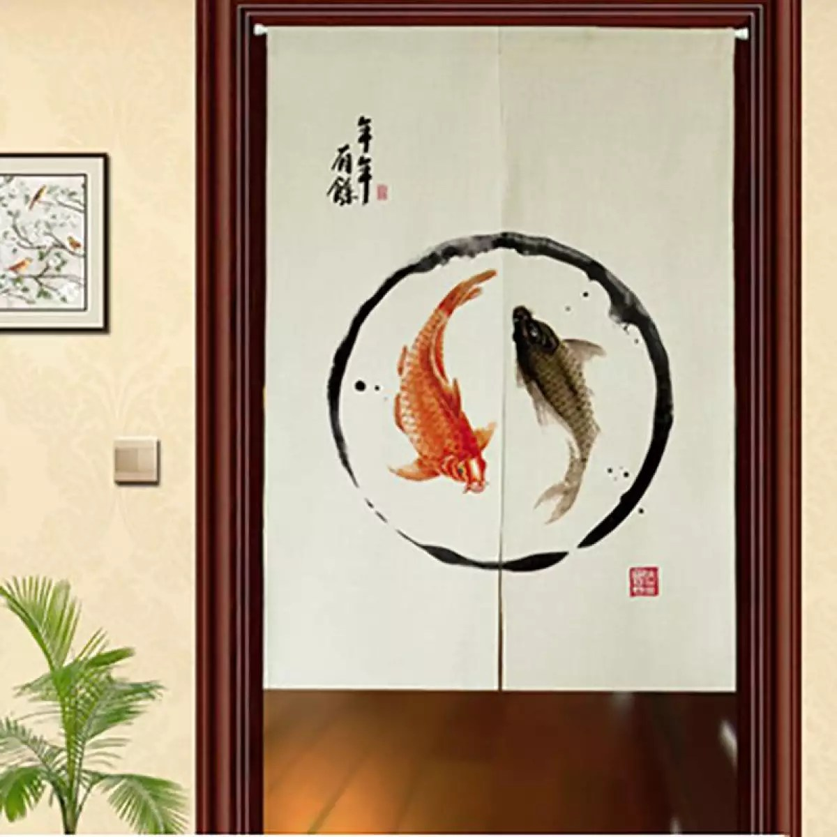 gl traditional chinese every year have enough things to spend door curtain noren curtain bedroom curtain doorway curtain creamy white