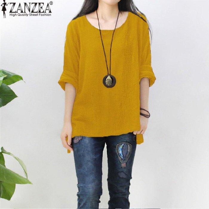 ZANZEA Womens Retro O Neck Long Sleeve Split Baggy Cotton
