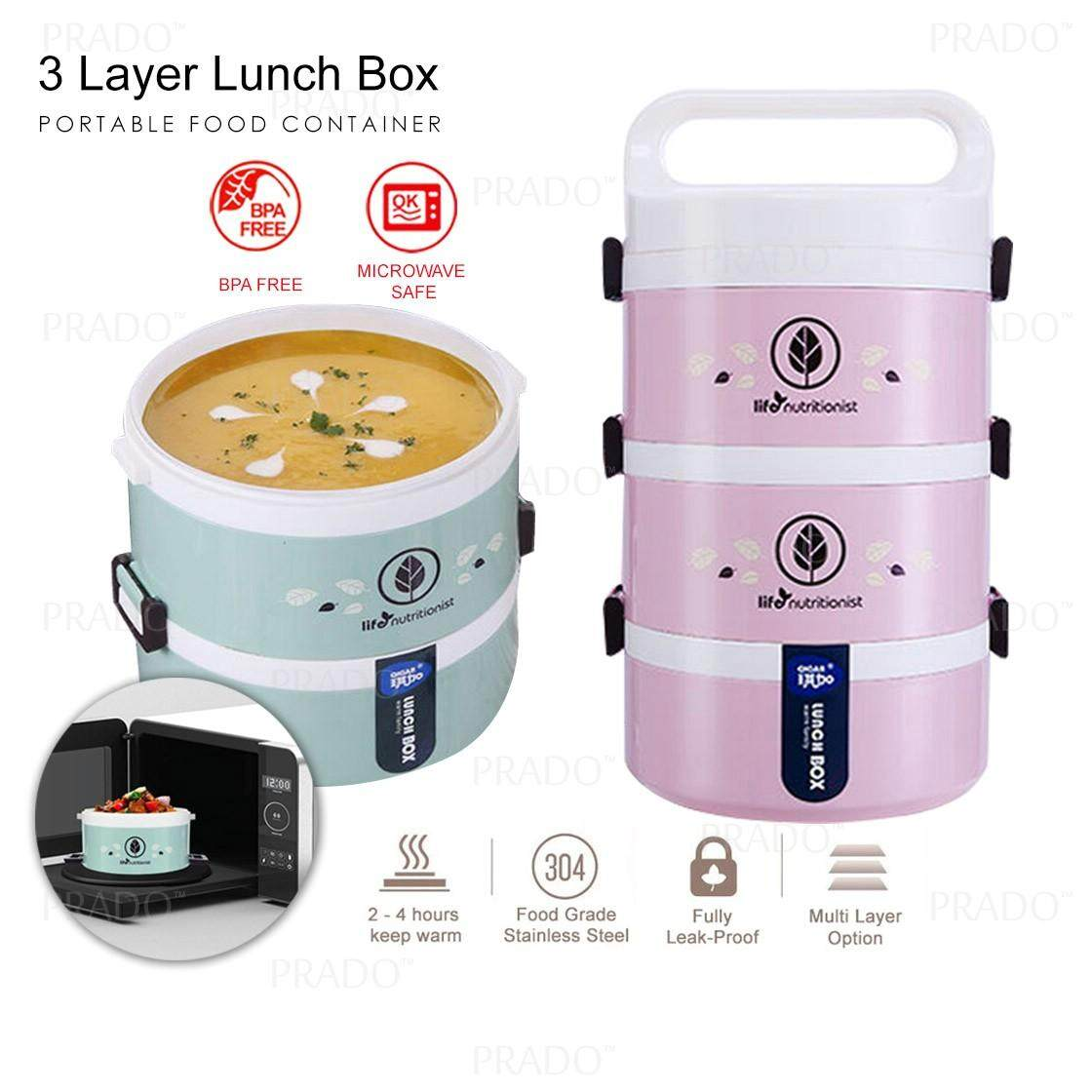 prado malaysia 3 layer portable stackable insulated thermal lunch box leakproof microwave safe lunch container with handle 1123