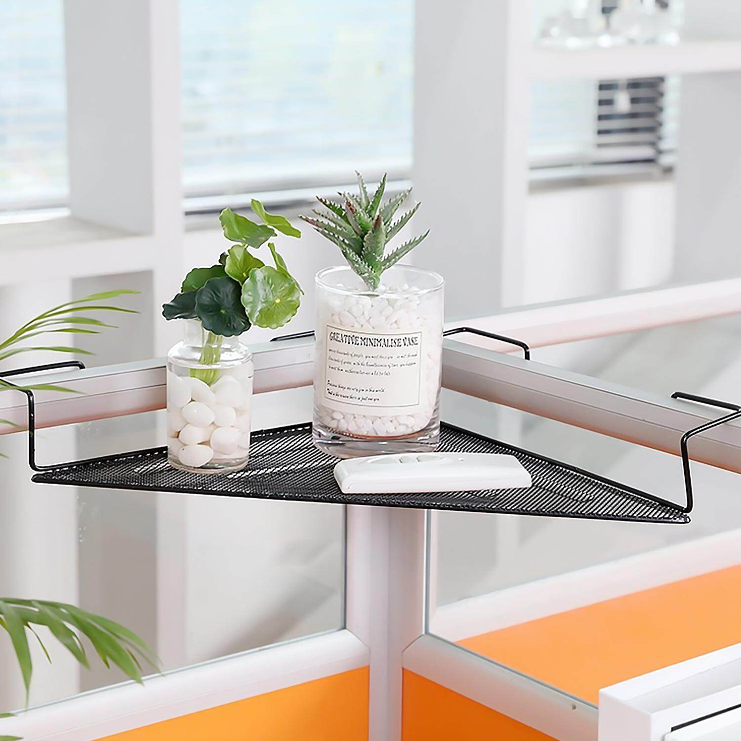 Fashion Triangle Iron Wire Balcony Office Cubicle Corner Storage Rack Shelf For Books Pens Telephone Plants Flower Pots Picture Frames