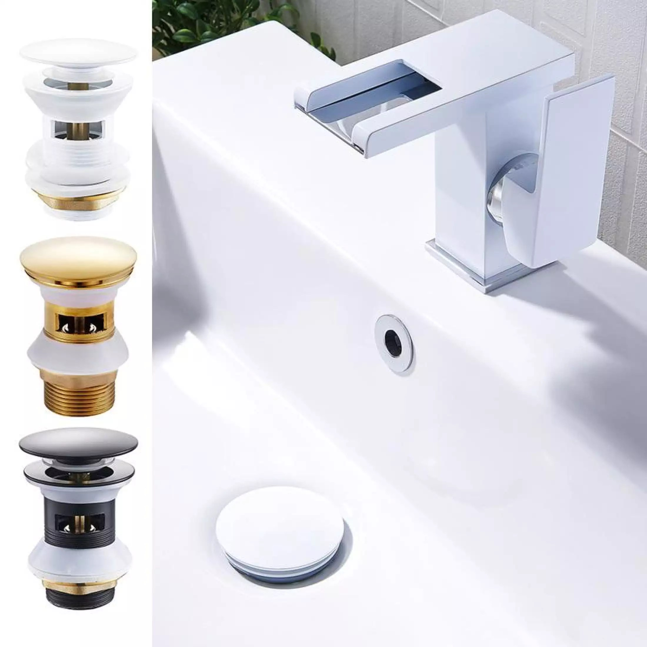 easy to use 1pcs bathroom sink drain stopper sink tap push button pop up waste plug slotted drain push button pop up waste suitable for a basin