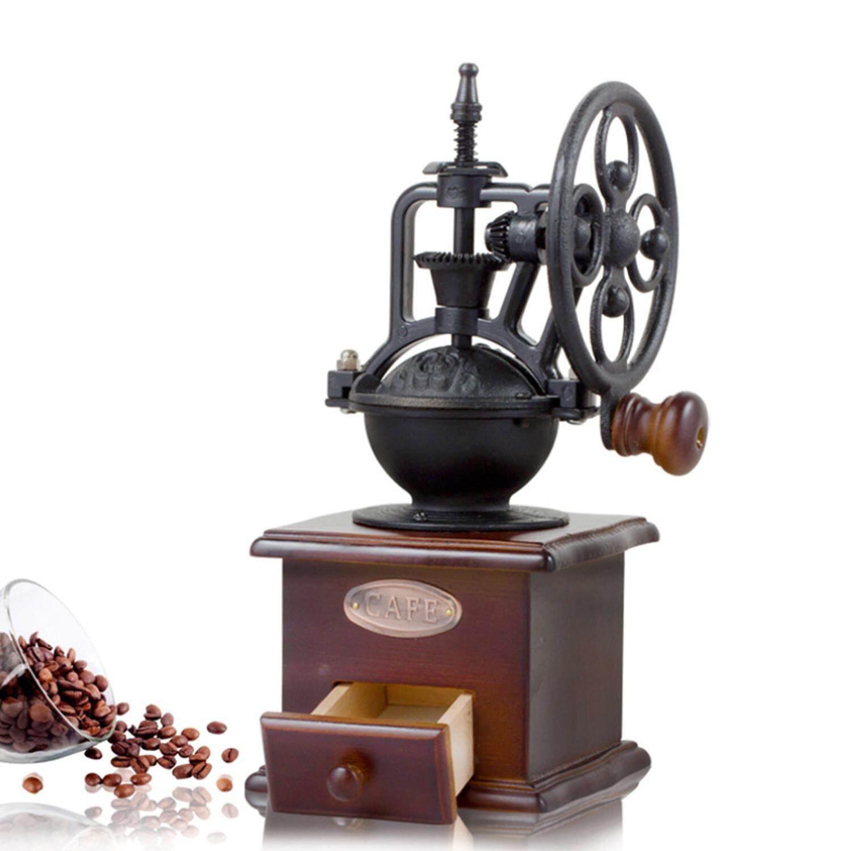 Goodgreat Kopi Penggiling Kacang, Gaya Antik Kopi Bumbu Mesin Penggiling Manual Tangan Engkol Gulung Drive Butir Penggiling Mesin Kopi-Intl