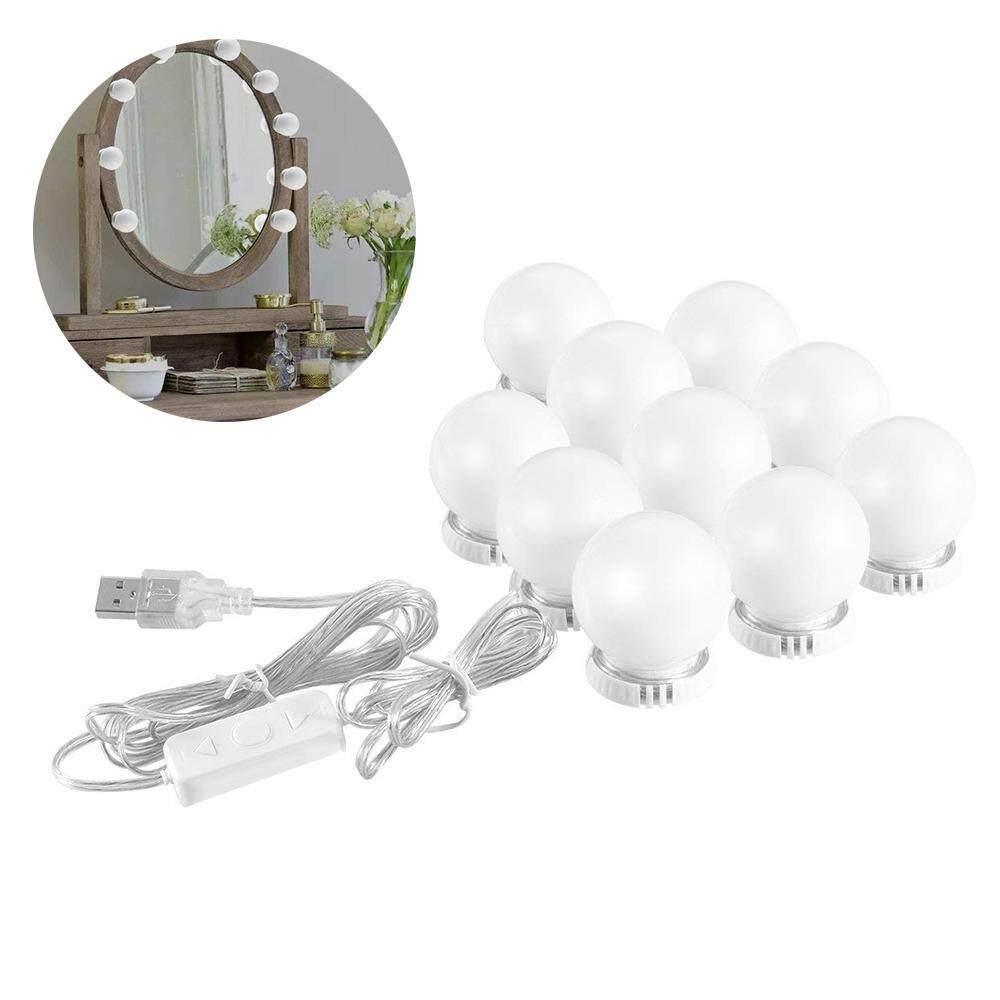 Wincoo Hollywood LED Kaca Rias Lampu Strip Kit dengan 10 Lampu Dapat Diredupkan untuk Makeup Meja Rias Vanity Set USB/Uni Eropa Plug /US Plug/UK Plug (Tidak Termasuk Cermin)
