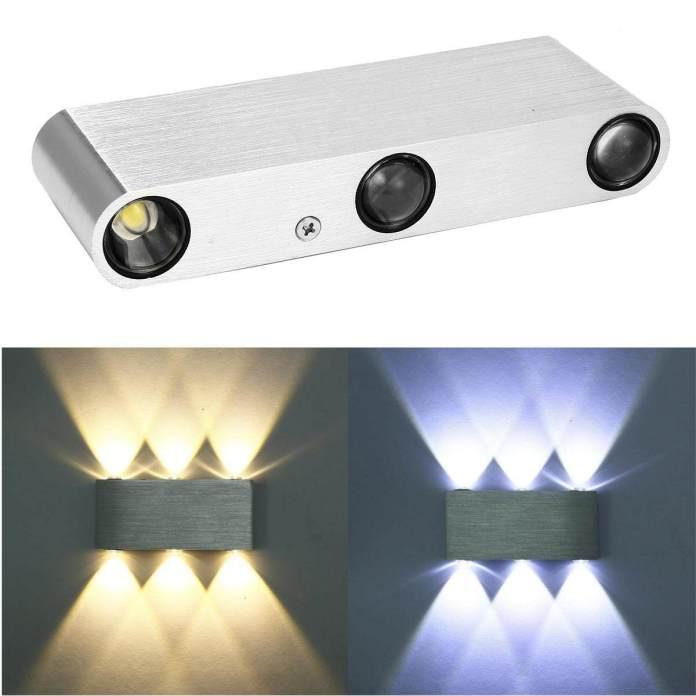 6 W Atas dan Ke Bawah Lampu Dinding 6 LED Aluminium Taman Dalam Luar Ruangan Teras Lampu Kerucut