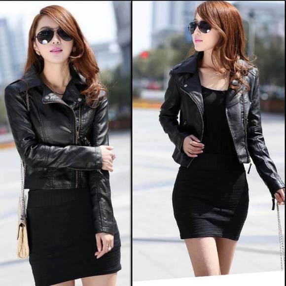 Leather Zipper Jacket Coat Hot(Black) - intl