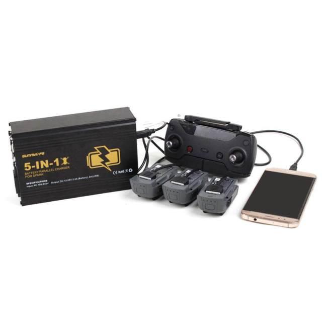 Bestprice-5 Dalam 1 Baterai Parallel Pengisi Daya Jarak Jauh Pengendali AS Steker untuk DJI Spark-Internasional