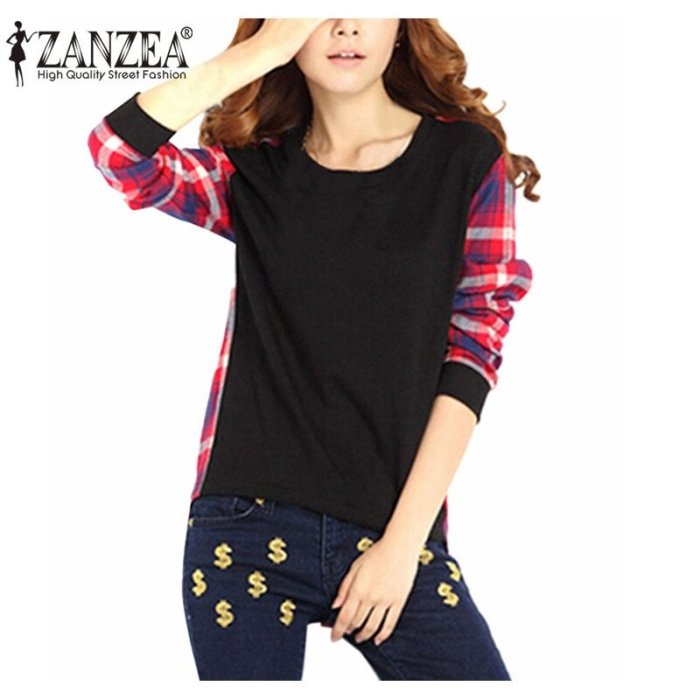 ZANZEA Women Plaid Shirts Spring Fall Long Sleeve Basic