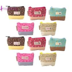 10Pcs Korean Print Wallets Zipper Small Purse Women Girl Card Clutch Bag