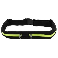 Outdoor Sports Waterproof Bag Flexible Waist Bike Riding Belt Pocket Double Pocket for iPhone Android Phone (Green)