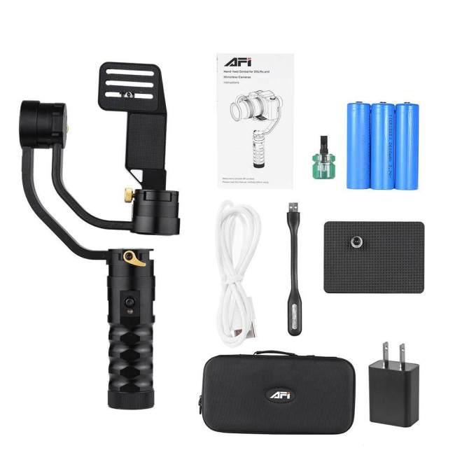 AFI VS-3SD 3-sumbu Handheld Gimbal Brushless Gyro Kamera Stablizer 360� Sudut Panning untuk Canon 5D 6D 7D untuk sony A7 A7II A7R A7R2 A7S A7SII untuk Panasonic GH4 dan DSLR Lainnya & Mirrorless Maksimum Beban Kapasitas 1700 g-Internasional