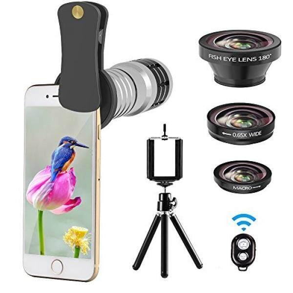 Ponsel Kamera Lensa Perlengkapan, vorida Universal 12X Telephoto Lensa + 180 ° Fisheye Lensa + 0.65X Sudut Lebar + Lensa Makro untuk iPhone 8, 7, 6, 6 S Plus, Samsung & Paling Smartphone + Jarak Jauh Rana-Internasional