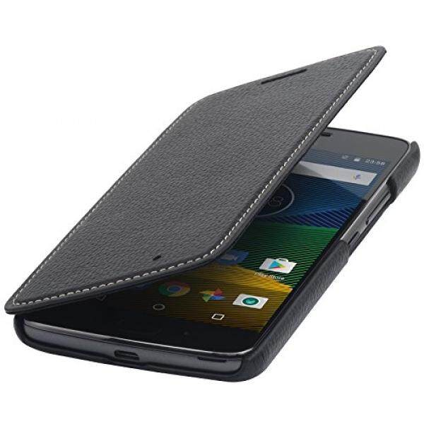 StilGut Genuine Leather Case for Lenovo Moto G5 & Motorola Moto G5, Slim Book Type Folio Flip Cover, Black - intl