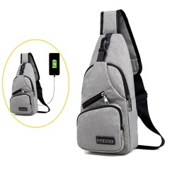2020 Tas Crossbody Bahu untuk Pria Chest Pack Cross Body Bag Portable Canvas Hiking Travel Backpack Daypack Bag