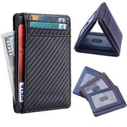 2019 New Leather Tempat Kartu RFID Dompet untuk Pria Slim Carbon Fiber Tempat Kartu Kasus Saku Jepitan Uang