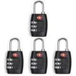 4 BH Kunci TSA 3 Digit Dapat Diatur Ulang Kombinasi Koper Koper Perjalanan Gembok (Hitam)