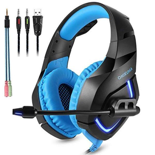 Desxz PC Gaming Headset for Games PS4 Xbox with 3.5mm Stereo USB LED Luminous Headphones Omnidirectional Microphone Volume Control for PC Laptop Mac PlayStation 4 (K1-B-Blue) - intl
