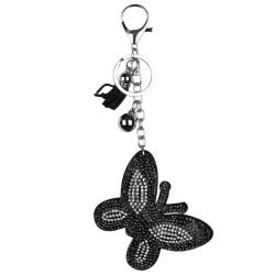 Kloware Gantungan Kunci Kupu-kupu dari Berlian Gantungan Kunci Ponsel Kulit Imitasi untuk Tas Tangan