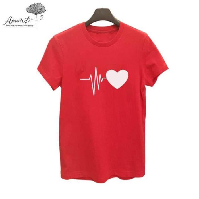 Amart Women T-shirts Heartbeat Printed O Neck Short Sleeve